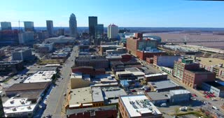 4K Aerial Louisville Kentucky City Skyline Traffic River Bridge Flyover