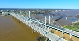 4K Aerial Louisville Kentucky City Traffic River Bridge Flyover Circle