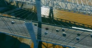 4K Aerial Louisville Kentucky City Traffic River Bridge Flyover Pull Back