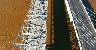 4K Aerial Louisville Kentucky City Traffic River Bridge Pull Back Pan Up