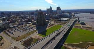 4K Aerial Louisville Kentucky City Traffic River Bridge Pull Back