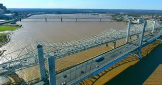 4K Aerial Louisville Kentucky City Traffic River Bridge Flyover Circle Pull Back