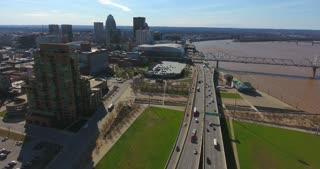 4K Aerial Louisville Kentucky Skyline City Traffic Freeway Urban Roads