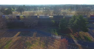 4K Freight Train Aerial Military Cemetary  Nashville National Cemetery Flyover Tennessee Graveyard Grave