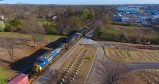 4K Aerial Military Cematary Freight Train Nashville National Cemetery Flyover Tennessee Graveyard Grave Tracks