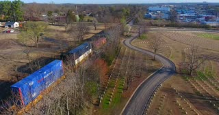 4K Aerial Military Cematary Freight Train Nashville National Cemetery Flyover Tennessee Graveyard Grave