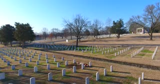 4K Aerial Military Cemetary Nashville National Cemetery Flyover Tennessee Graveyard Grave