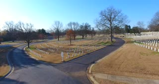4K Aerial Military Cemetary Nashville National Cemetery Flyover Tennessee Graveyard Grave Rising Shot