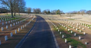 4K Aerial Military Cematary Nashville National Cemetery Flyover Tennessee Graveyard Graves Rising Shot
