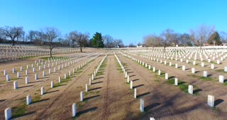 4K Aerial Military Cematary Nashville National Cemetery Flyover Tennessee Graveyard Grave Rising Pan Down Shot