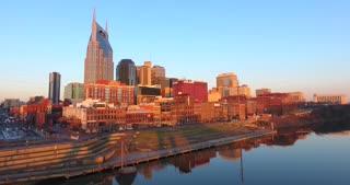 4K Aerial Nashville Tennessee Bridge Fly Under Skyline City Traffic Freeway Urban Roads Buildings Rising Shot Building