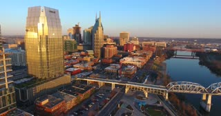 4K Aerial Nashville Tennessee Constriction Building Circle Shot Bridge Skyline City Traffic Urban Roads Buildings