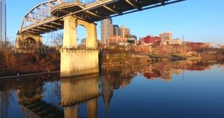 4K Aerial Nashville Tennessee Skyline Bridge Jib Shot Rising City Urban Roads Buildings