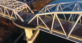 4K Aerial Nashville Tennessee Skyline City Urban Roads Buildings Bridge Pull Back Pan Up