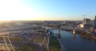 4K Aerial Nashville Tennessee Skyline River Bridges Flyover Shot City Urban Roads Buildings