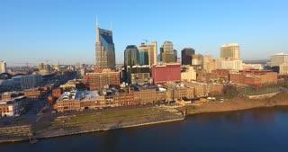 4K Aerial Nashville Tennessee Skyline River Flyover Shot City Urban Roads At T Building Rising Shot