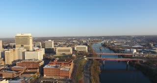 4K Aerial Nashville Tennessee Skyline River Pan Left Shot City Urban Roads