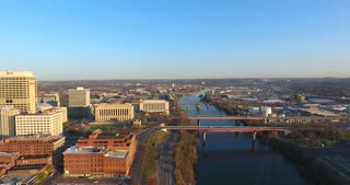 4K Aerial Nashville Tennessee Skyline River Stationary Shot City Urban Roads