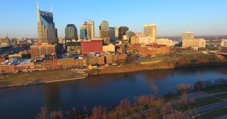 4K Aerial Nashville Tennessee Skyline River Tracking Shot City Urban Roads Buildings