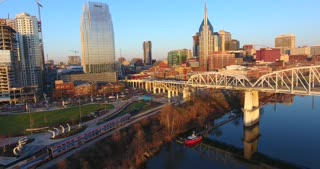 4K Aerial Nashville Tennessee Train Pulling Into Station Building Skyline City Urban Roads Buildings Bridge