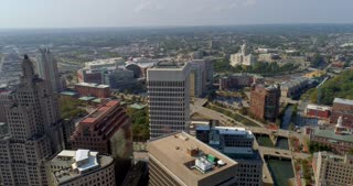 4K Aerial Providence Rhode Island Flyover River City Urban Freedom Circle Shot State Capital Building