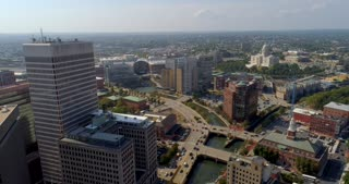 4K Aerial Providence Rhode Island Flyover River City Urban Freedom State Capital Building