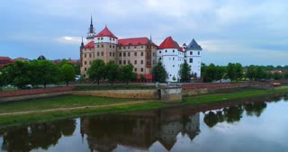 4k Aerial Torgau Castle Flyover Schloss Hartenfels German Streets Europe Saxony Germany Tourism Reformation Medieval