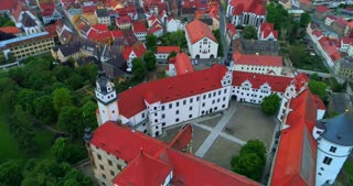 4K Aerial Torgau Castle Pull Back Schloss Hartenfels German Streets Europe Saxony Germany Tourism Reformation Medieval