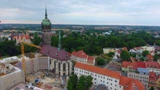 4K Aerial Wittenburg Germany Aerial Castle Church Construction