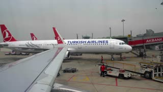 4k Airplane Pulling Into Terminal Turkish Air Hub Wing Istanbul Turkey Airport Airline Jet Plane Flight