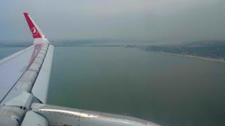 4K Airplane Wing Landing Istanbul Turkey Airport Airline Jet Plane Flight Turkish Air Hub
