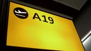 4K Airport Terminal Marker A 19 Departures Slider Shot Termanal Airport Airline Jet Plane