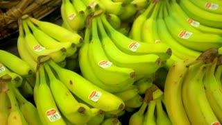 4K Bananas Fresh Fruit Grocery Store Produce Slider Shot