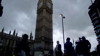 4K Big Ben Slow Mo People Walking London England Paralament