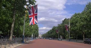 4K British Flags Leading Into Buckingham Palace London England Capital