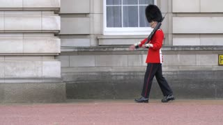 4K British Guards Marching At Buckingham Pallace In London