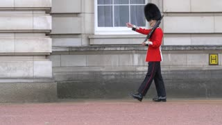 4K British Guards Slow Mo Marching At Buckingham Pallace In London