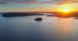 4K Brittany Ferries Arriving In Plymouth England Aerial Docking Ferry Ship Boat Sunset Ocean Islands