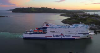 4K Brittany Ferries Arriving In Plymouth England Aerial Docking Ferry Ship Boat Orbit Ocean Islands