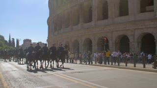 4K Colosseum Horse Military Slow Mo Reveal Rome Tourist Attraction Roman Empire Travel