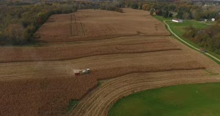 4K Combine Harvester Aerial Flyover Cornfield Agriculture Food Corn Establishing