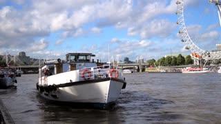 4K London Eye Boat Tour Docking Harbor Urban City