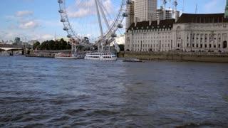 4K London Eye Pan Up Seagulls Flying Urban City