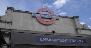 4K London Metro System Embankment Station Pan Down People Surging Out Public Transit