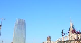 4K Nashville Tennessee Skyline Tilt Down Urban City Bridge AT&T Pinnacle Buildings