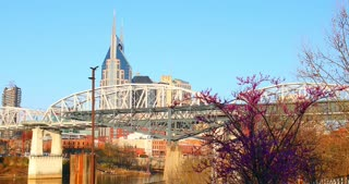 4K Nashville Tennessee Skyline Urban City Bridge At&T Pinnacle Buildings