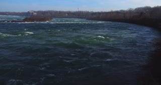 4K Niagara River Waterfall Wide Shot Water Flowing Rapids