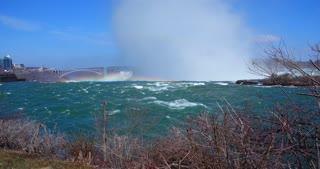 4K Niagria Falls Mist City Waterfall Gulls