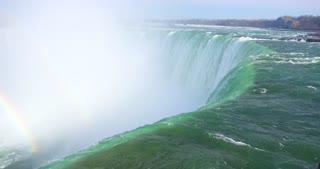 4K Niagria Falls Mist Cloud Waterfall Gulls Rainbow Flowing Water