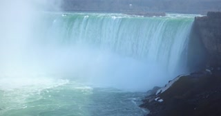 4K Niagria Falls Mist Cloud Waterfall Gulls Rainbow Pan Left